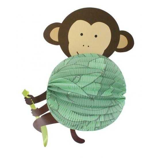 Lampion aap 22 cm. Papieren bollampion in apen uitvoering. De lampion is niet brandvertragend.