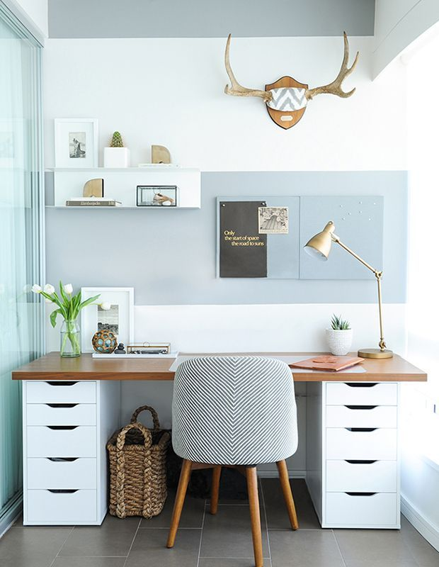 In this condo office, layers of soft blue envelop the space, creating a zen atmosphere ideal for reducing stress. | Photographer: Tracey Ayton | Designer: Shift Interiors