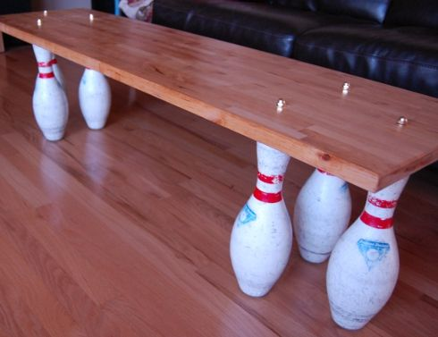 House InsideOut: 38 Things: Make a Coffee Table (A Bowling Pin Coffee Table)