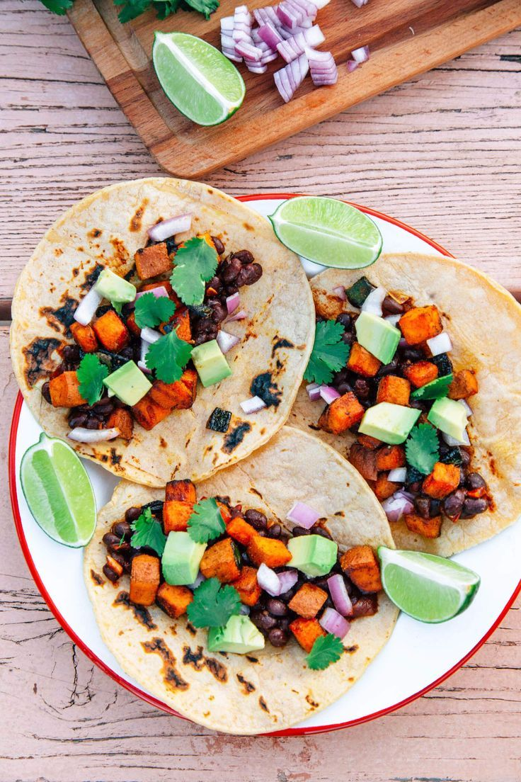 Campfire Tacos with Sweet Potato, Black Beans & Poblano Peppers