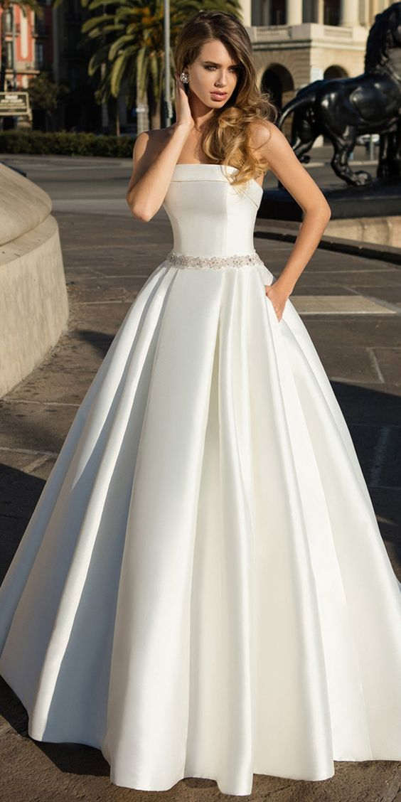 Satin Stapless Neckline A-line Wedding ceremony Costume With Beadings & Bowknots & Pockets M6795