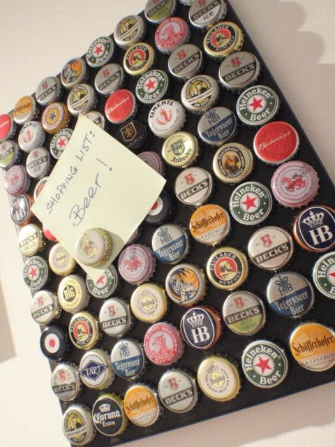 Magnet Board for the Beer Lover! Also great as a piece of art! This unique and chic magnet board will keep your notes in the office, kitchen or hallway in order. It can be hung on or leaned against a wall