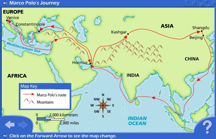 interactive map of Marco Polo's travels: http://www.eduplace.com/kids ...