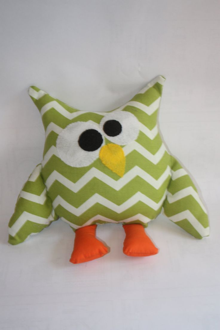 Children's homemade Stuffed owl, made to order owl plush, owl fabric owl, soft owl, owl toy, owl pillow, owl decor, green zigzag by LilFoxxyCreations on Etsy