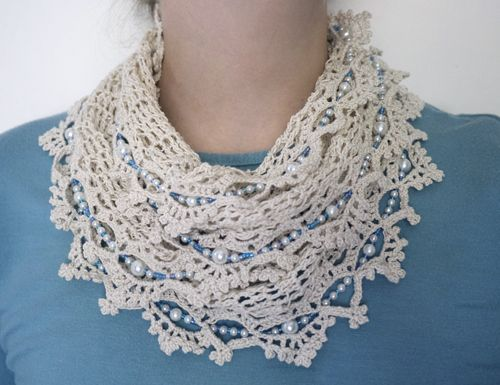 Crochet Scarf Pattern With Beads : Crochet thread and beads infinity scarf Crochet Thread ...