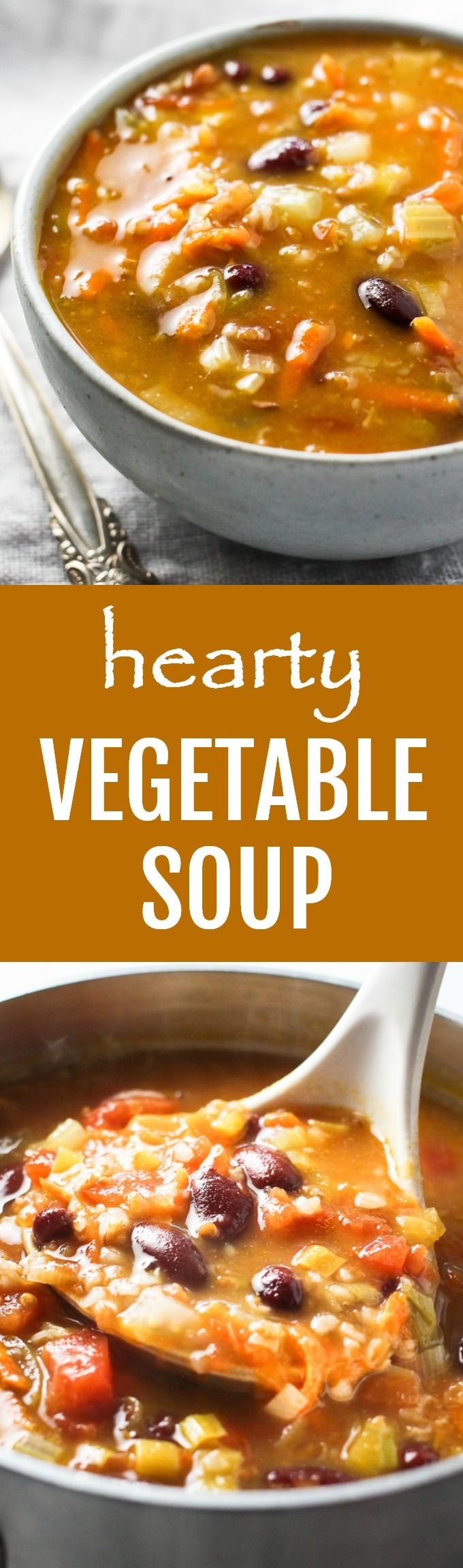 This hearty vegetable soup with bulgur is filling, warming, and comforting. It's really easy to make using ingredients you most likely already have on hand. This recipe is high in fiber and vegan.
