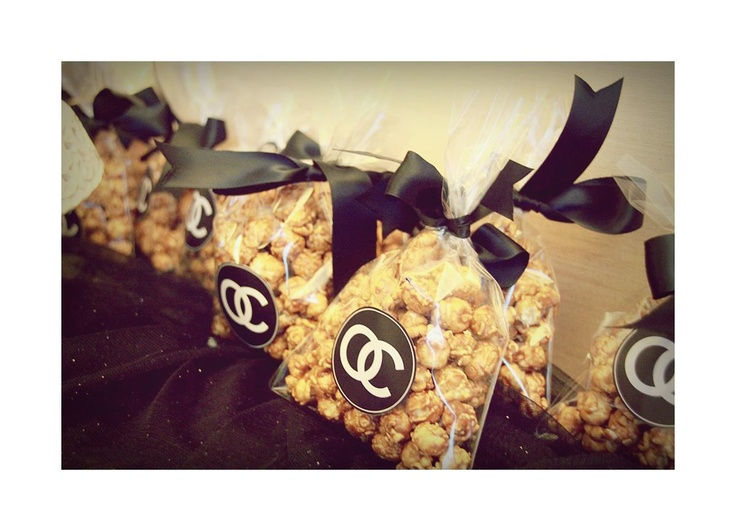 Black & White Chanel-inspired dessert table.  Bachelorette party, Popcorn.