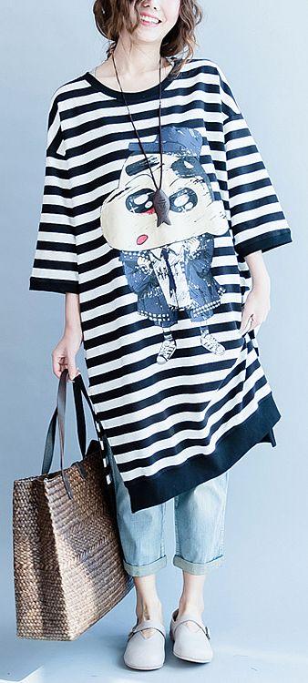 96f8add445 women-black-white-striped-cotton-dresses-plus-size-cotton-clothing-dress- women-side-open-striped-clothing-dress2