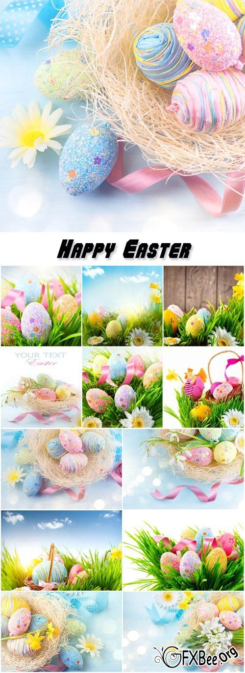 Easter background, beautiful colorful eggs in spring grass