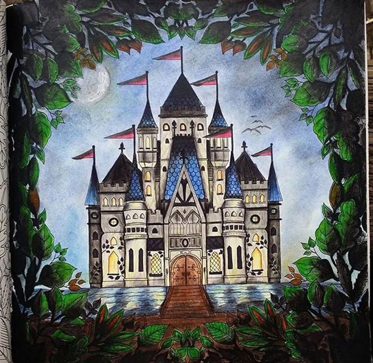 Castle Leaves Enchanted Forest Castelo Floresta Encantada Johanna Basford Coloring BooksAdult ColoringColouringJohanna BasfordZentangleCastles BooksTips