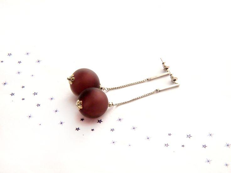 boucles d'oreilles pendantes perle verre soufflé au chalumeau clous chaine