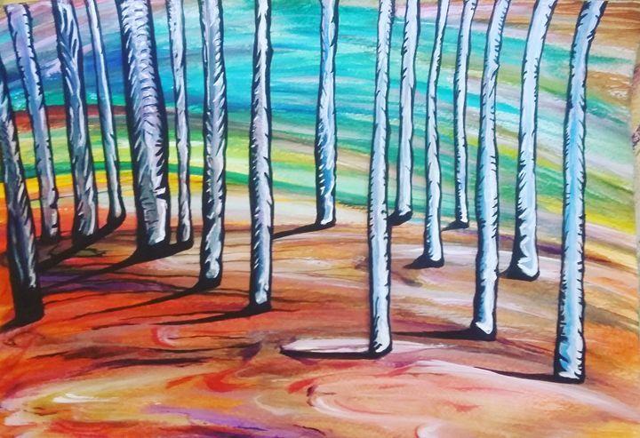 birch forest - Artwork by Justin Strickland