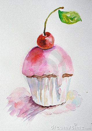 акварель иллюстрации торта