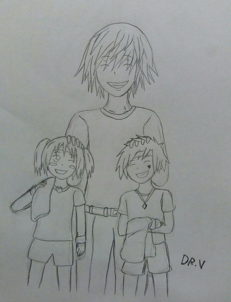 Diseño de personajes, Hyoko, Crow y Sophie descansan despúes de entrenar. [The Shield of the Three Kingdoms.]