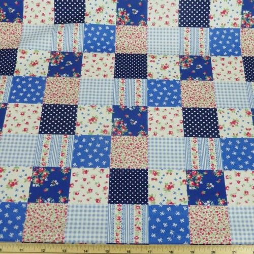 Floral Patchwork Polka Dots Cotton Fabric | eBay