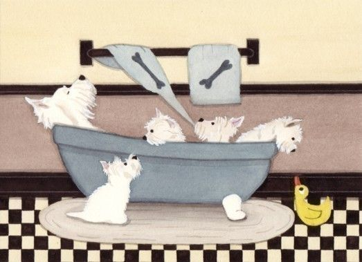 West highland terriers westies fill tub at bath by watercolorqueen, $12.99
