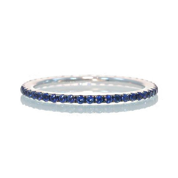 So small and beautiful.  Sapphire Eternity Band  Size 5.   By SAMnSUE on Etsy, $350.00