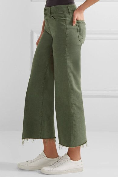 Mother - The Roller Cropped Mid-rise Flared Jeans - Army green - 28