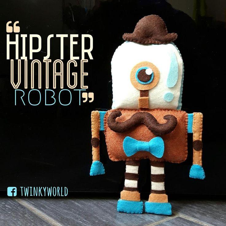 Felt puppet - hipster vintage robot