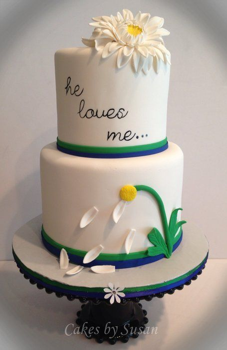 """He loves me"" wedding cake - by Skmaestas @ CakesDecor.com - cake decorating website"