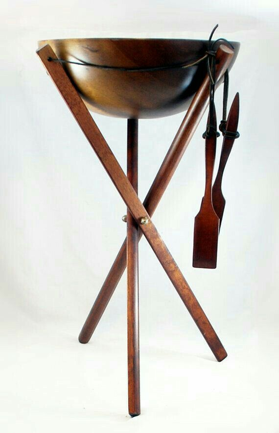 Baribocraft maple wood salad bowl, three legged stand and ...
