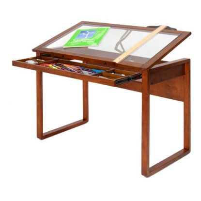 Studio Designs Ponderosa Glass Topped Drafting Table   Drafting U0026 Drawing  Tables At Hayneedle
