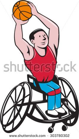 Illustration of a wheelchair basketball player shooting ball viewed from front set on isolated white background done in cartoon style. #paralympics #icon #illustration