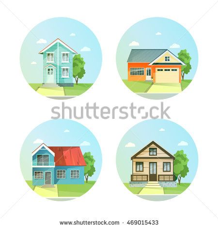 Set of flat icons the house with a tree. Family and modern buildings. Rent of the home. Vector illustration