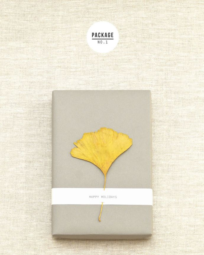 Add a painted leaf to your next gift wrapped package. Love this sophisticated color combo too.