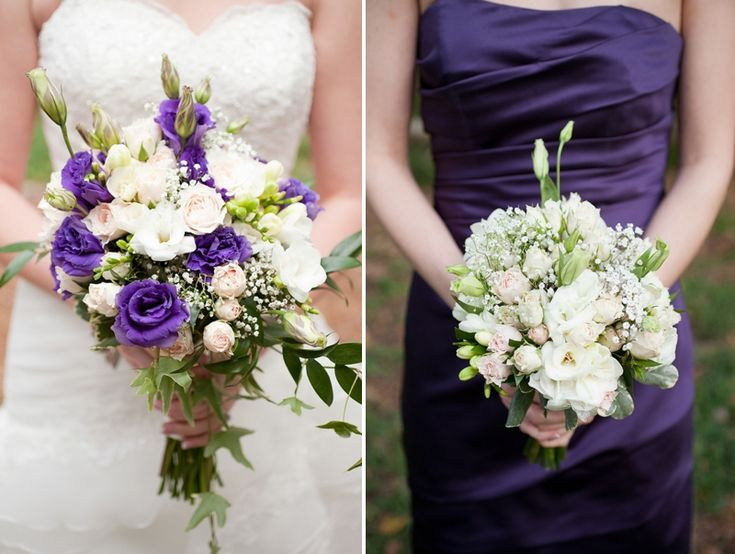 Purple and white bouquets // Photo by Captured Photography By Jenny
