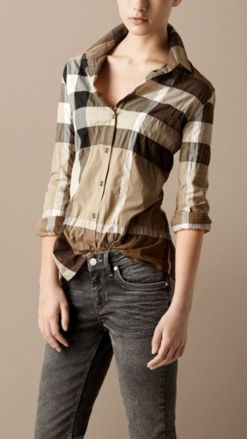 Burberry Button Down.... pretty in your face obvious but pretty cute