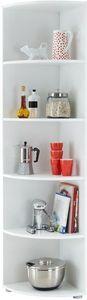 Wit hoekkast Ecki 2 is een handige hoog interieur meubel voor in de hoek van uw woonkamer, badkamer of keuken. De 6 bladen hebben een rond gebogen vorm waardoor de kast een extra leuke uitstraling heeft, voorzien van 5 vakken.Ecki is ook leverbaar in kleiner model met 3 vakken: Hoekkast Ecki 1- Duits kwaliteit - PEFC keurmerkAfmetingen: Breedte: 400 mm Hoogte: 1800 mm Diepte: 400 mm Kleur: WitMateriaal: Hoogwaardig spaanplaat met Melaminehars houtMontage: Zelf montage, wordt geleverd in…