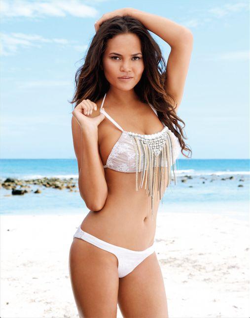 Supermodel Chrissy Teigan's stylish bridal bikinis, designed in collaboration with Beach Bunny Swimwear