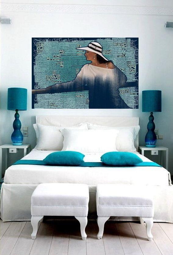 """""""Портрет Ирины"""" от Саввы в бело-голубом интерьере спальни. Все красивые женщины должны быть написаны."""