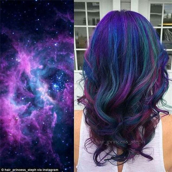 Beautiful Galaxy Hair color style with purple, blue and green. wonderful transformation