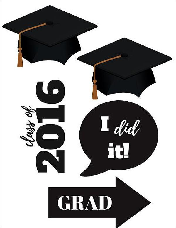 Graduation Photo Booth Printables: Class of 2016 Party Props