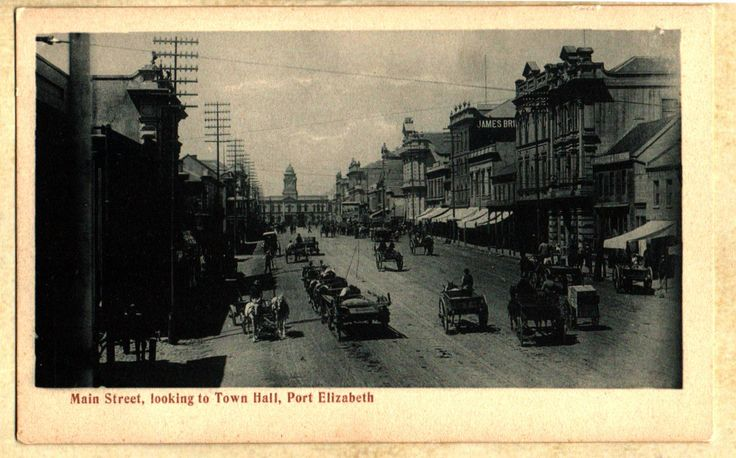 Port Elizabeth South Africa~Main Street~Town Hall~Horse Carriages~UDB Postcard