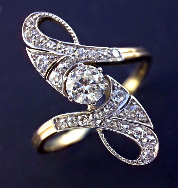 This is not contemporary - image from a gallery of vintage and/or antique objects. ART NOUVEAU Ring Gold Diamond