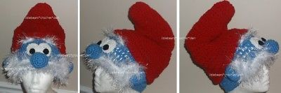 Other Kids Clothing and Accs 175640: Custom Boutique Crocheted Papa Smurf Hat Beanie Halloween Costume -> BUY IT NOW ONLY: $32 on eBay!
