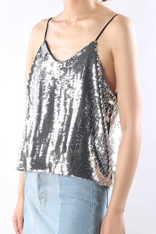 5a87cdfe09abf Silver Sequins Backless Sexy Camisole  047491   Women s Tank Tops ...