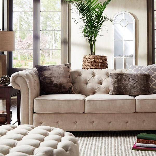Knightsbridge Beige Fabric Button Tufted Chesterfield Sofa