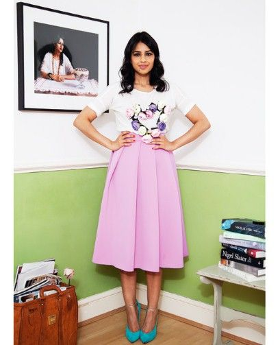 Ravinder Bhogal at home wearing a customised t-shirt and JW Anderson skirt. Also for her natural health treatments from her kitchen cupboard.