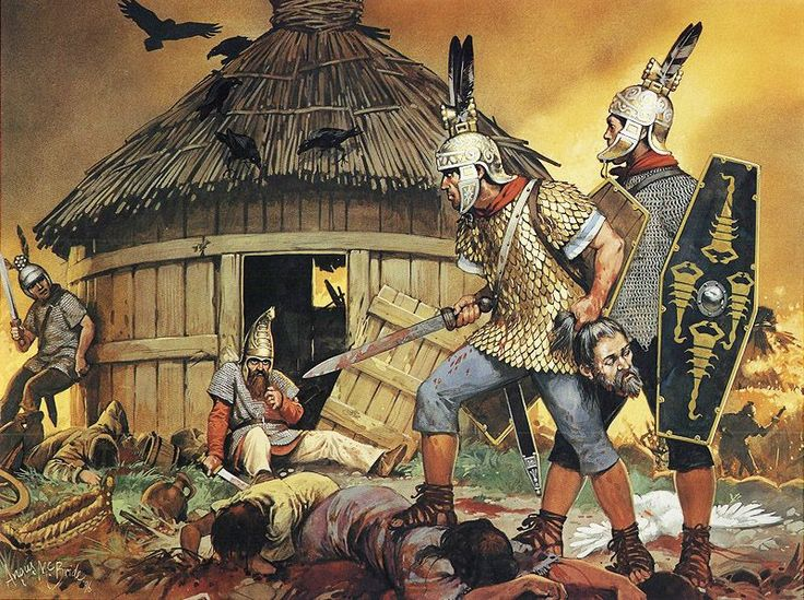 Roman auxiliary cavalrymen, recruited from Celtic tribes, burn a Marcomanni (a Germanic tribe) village, 1st/2nd cent. AD - art by Angus McBride