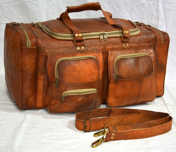 Real goat leather handmade travel luggage vintage holiday genuine duffel bag #Unbranded #MessengerShoulderBag