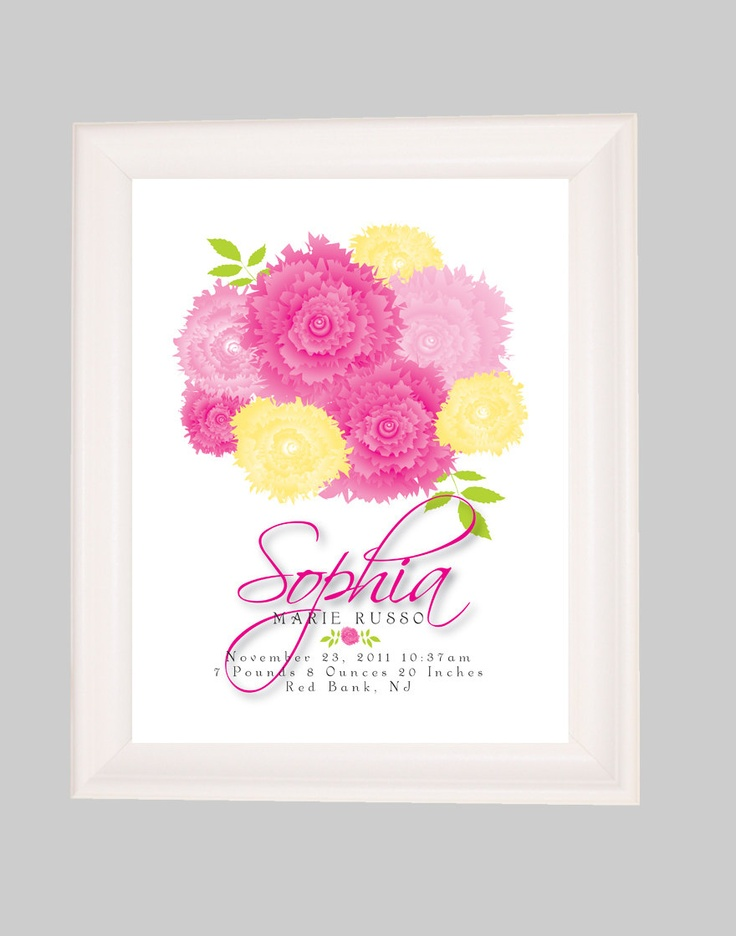 Baby Girl Nursery Birth Announcement Wall Art Floral Nursery Art Personali