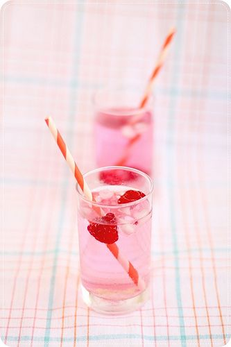 Breakfast at the Rose Parade idea: Take clear soda (7-Up, Sprite, etc.) and add a bit of grenadine, plop in some fresh raspberries and you're good to go!