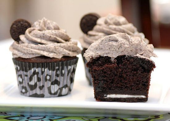Death by Oreo cupcakes, featuring Oreos in the icing and cake batter, and the bottom has a surprise Oreo.