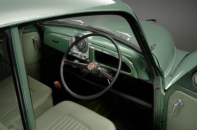 Morris Minor interior, a car with a unique interior scent.