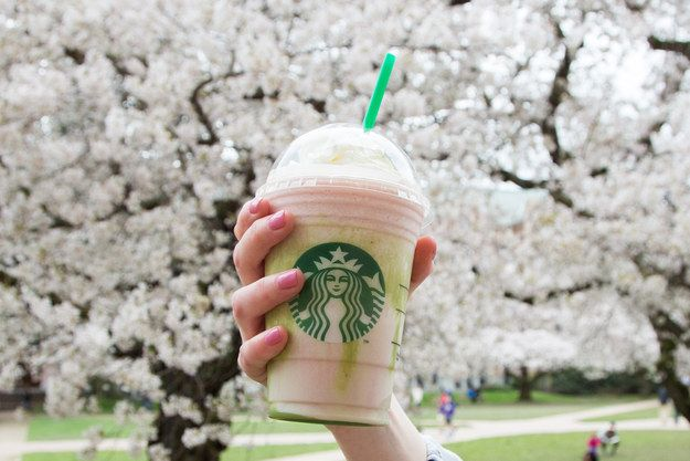 So, on Tuesday Starbucks announced a new flavor would be joining its Frappuccino family: cherry blossom. | Starbucks Now Has A Cherry Blossom Frappuccino