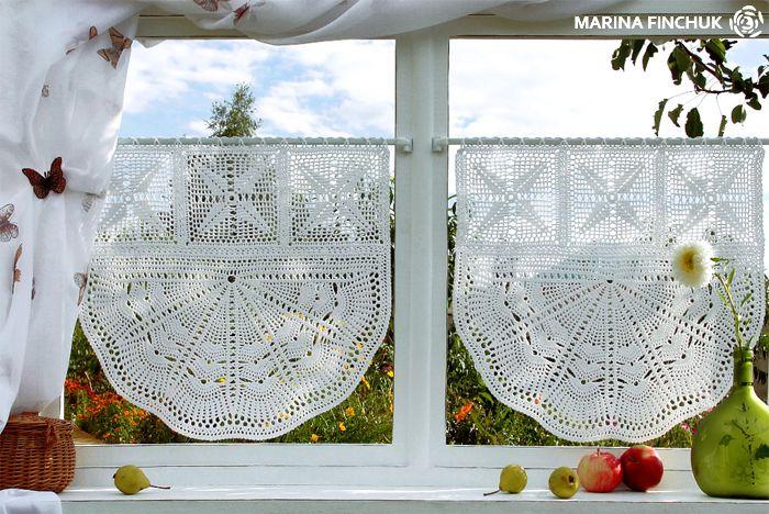 Шторки-zazdrostki «Одуванчики», Cafe Curtain, crochet-curtains